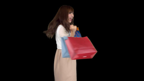 Young Japanese woman shopping with colorful bag 3 Footage