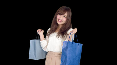 Young Japanese woman shopping with colorful bag 6 Footage