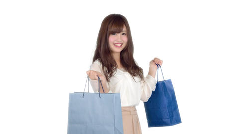 Young Japanese woman shopping with colorful bag 6 Live Action