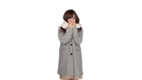 Young Japanese woman wearing coat in winter 1 Footage