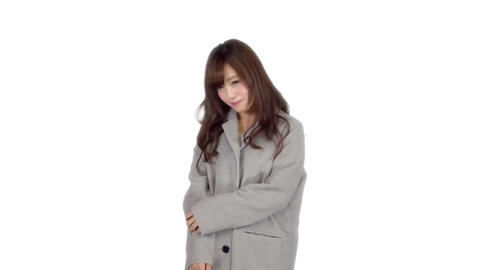Young Japanese woman wearing coat in winter 3 Footage