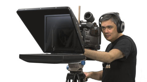 Cameraman and teleprompter, Full HD close-up shot with alpha channel Footage