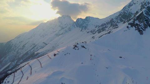 Low season at Alpine ski resort, empty cableway chairs, crisis, tourism, travel Footage
