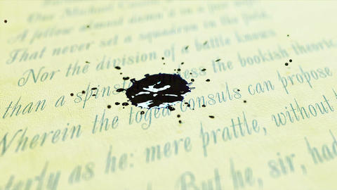 Ink dripping on the text, Super slow motion Footage