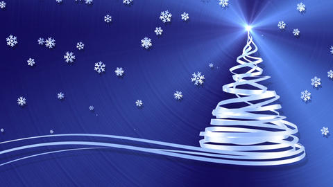 Christmas Tree From White Tapes And Snowflakes Over Blue Metal Background Animation