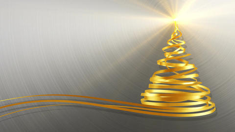 Christmas Tree From Gold Tapes Over Metal Background Animation