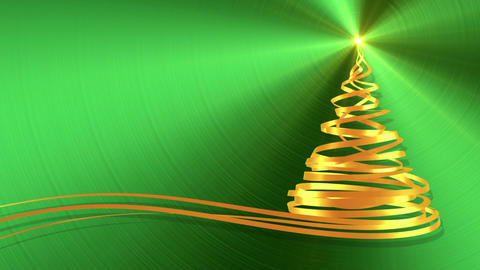 Christmas Tree From Gold Tapes Over Green Metal Background Animation