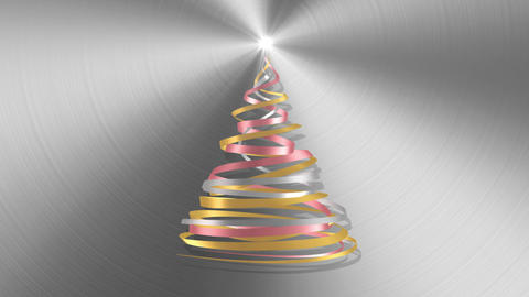 Christmas Tree From White, Pink And Yellow Tapes Over Metal Background Animation