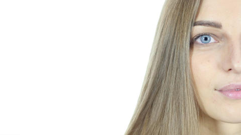 Close Up Of Half Woman Face , White Background Live Action