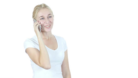 Positive Woman Talking On Smartphone, White Background Footage