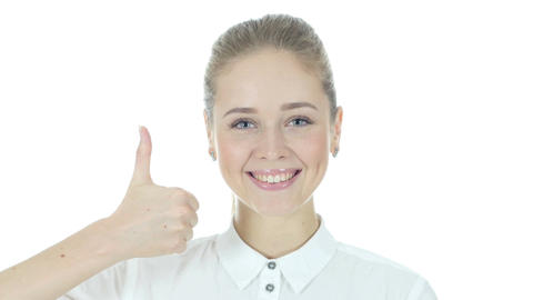 Thumbs Up By Beautiful Business Woman, White Background Footage