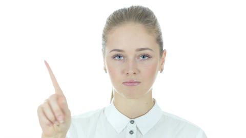Business Woman Showing No by Waving fingers, White Background Footage