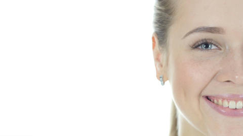 Close Up Of Beautiful Half Smiling Woman Face Live Action