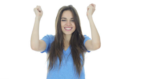 Celebrating Success, Woman Cheering and Excited, White Background Footage