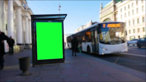Billboard green screen on a big city street Live Action