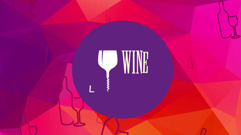 modern wine list identity with glass and corkscrew replacement letter i over violet disk above 3d Animation