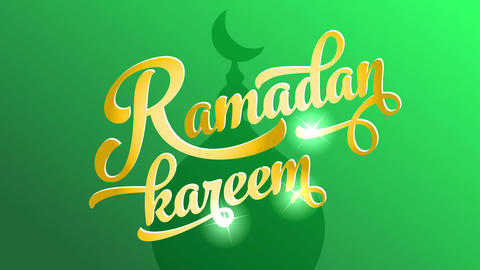 ramadan kareem text written with italic elegant typography and golden color tones with sparkling Animation