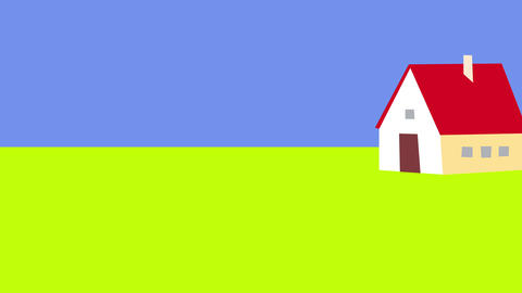 lack of creativity animation with a small house against serene blue sky with a small cloud depicting Animation