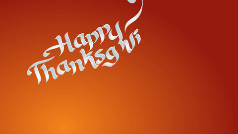smiling thanksgiving script with white words written with classic handwriting typography and in a Animation