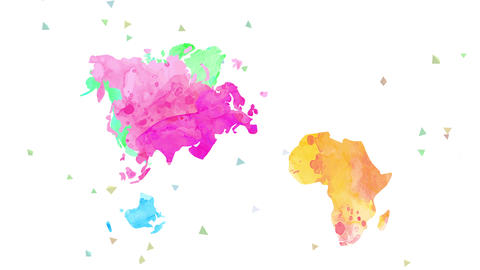 world chart multicolored with opposite watercolour in every continent using lighting tones Animation