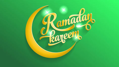 ramadan kareem holiday greeting card with golden calligraphy typography with stars illuminating Animation