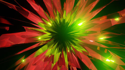 Red Green Crystal Cave or Glass Cave Motion Background in Dolly Style Animation