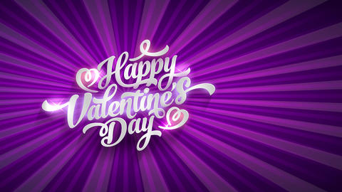 shining happy valentines day script concept science with large white handwriting typography with Animation