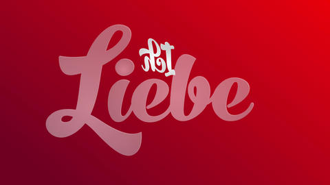 german valentines day text with words ich liebe dich i love you written with 3d groovy typography on Animation