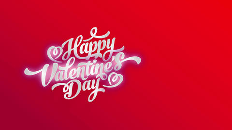 white satisfied valentines day offset with 3d effect with shadows under font over a red sheet and Animation