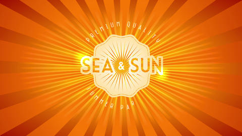 premium quality summer paradise with words sea and sun written with shiny lettering above orange Animation