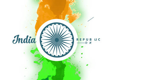 india liberty day with the colour of the flag vertically painted with watercolour with a rounded Animation