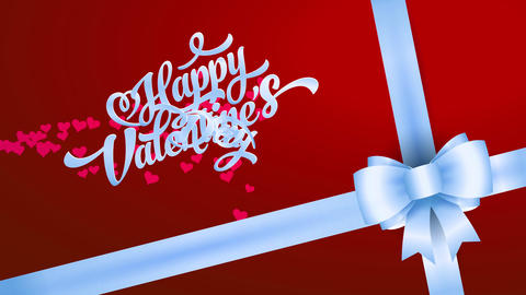 present detail with red wrapping paper decorated with posh white pull bow on the bottom and cheerful Animation