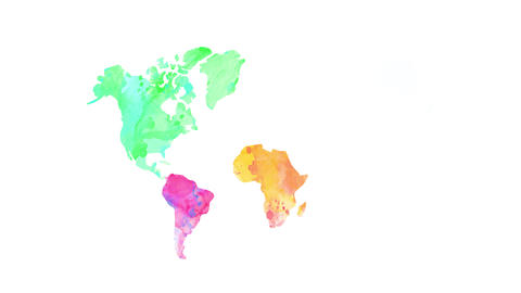 world map painted with different watercolor in every continent using light tones suggesting the Animation