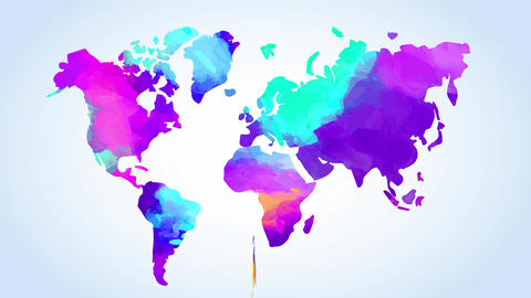 watercolour world chart painted with mix of vivid colors suggesting multicultural exchange between Animation