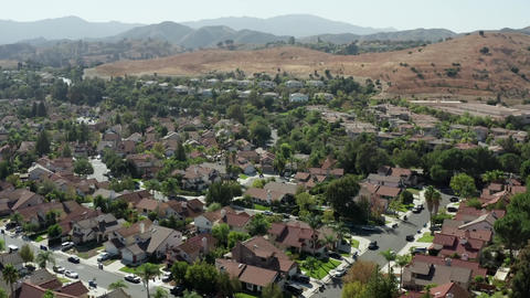 Drone flies over real estate of wealthy people in Calabasas, Los Angeles County Live Action