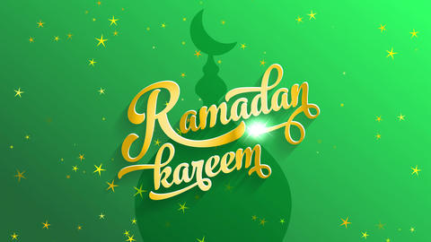 ramadan kareem script written with italic formal typography and yellow colour tones with sparkling Animation