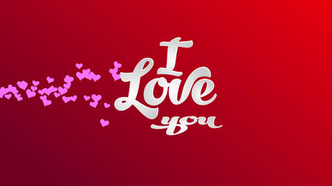 i love you written with white 3d writing using handwriting typography over a red scene designed for Animation