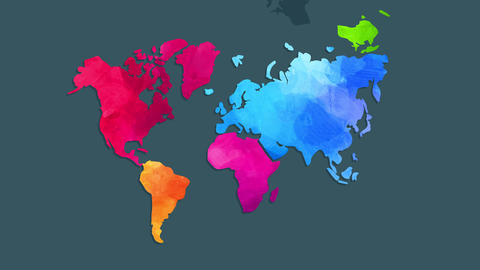 world map painted by hand with watercolor and using unique vivid colors to identify every continent Animation
