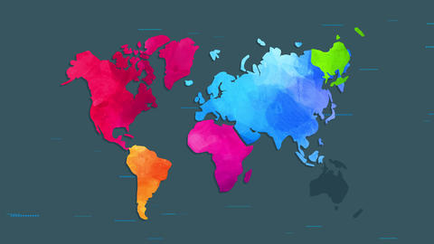 world chart painted by fingers with watercolor and manipulation individual vivid colour towards Animation