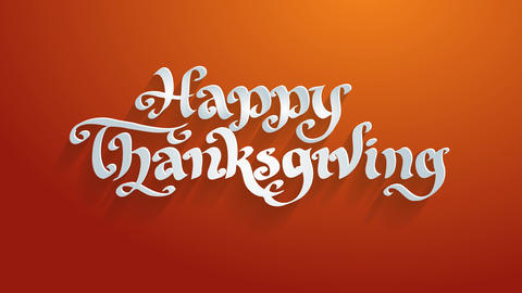 happy thanksgiving holiday conceptual art lettering written with white 3d calligraphy italic Animation