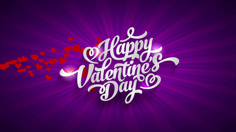 glossy cheerful valentines day script concept science with big white handwriting typography with Animation