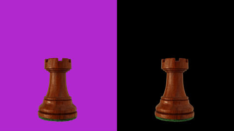 Black rook chess piece chromakey 360 degree rotation Live Action