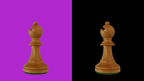 White bishop chess piece chromakey 360 degree rotation Live Action