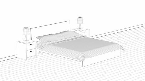 3d design of modern bedroom Animation