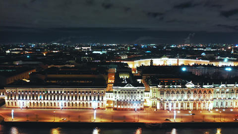 Aerial view of Winter palace or Hermitage from Palace Embankment with Palace Live Action