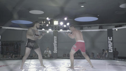 Iron mesh cage MMA. Close-up Live Action