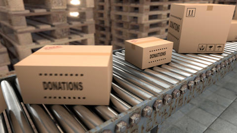 Production line with different size cardboard parcels on a boxes factory Animation