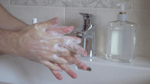 Full cycle of correct thorough hand washing Live Action