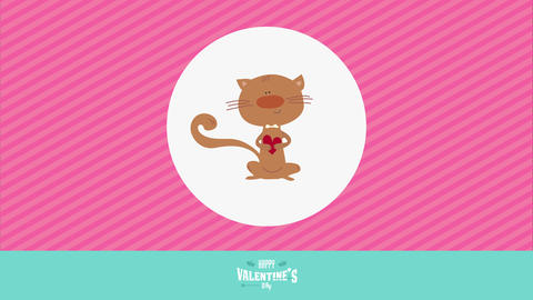 valentines day with romantic male cat holding heart and wearing bowtie inside white circle over pink Animation