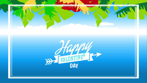 tropical love letter with text happy valentines day written with cursive font inside ribbon Animation